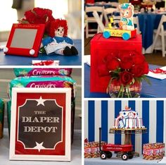 classic toy themed baby shower  ♥ the diaper depot sign!