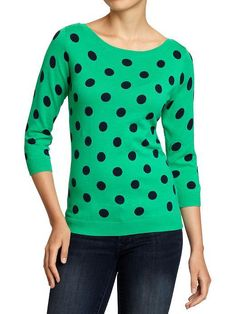 Old Navy Polka Dot Sweater. I have one in pink that I found on clearance.  very comfy.
