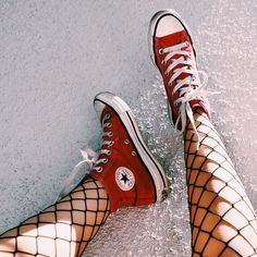 Old Chucks + Fishnets = CLASSY #converse #red
