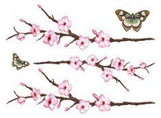 Small Cherry Blossom Tattoo | cherry blossom butterflies skyn demure tattoos cherry blossom ...