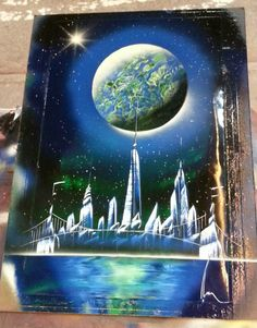 SPRAY PAINT ART - Freedom Tower NYC (22in x 14in) Enamel Space Painting #SprayPaintArt