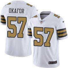 8afd71e9c Men s Nike New Orleans Saints  57 Alex Okafor Elite White Rush NFL Jersey  James Laurinaitis