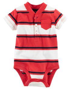 Baby Boy Striped Henley Bodysuit | Carters.com