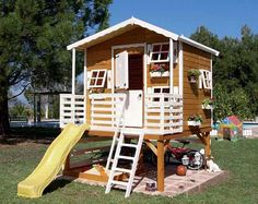 Outdoor Wooden Playhouse with Slide Wooden Playhouse With Slide, Wooden Playhouse Kits, Outside Playhouse, Childrens Playhouse, Backyard Playhouse, Build A Playhouse, Outdoor Playhouses, Playhouse Slide, Playhouse Ideas