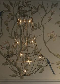 Lit barbed wire chandelier