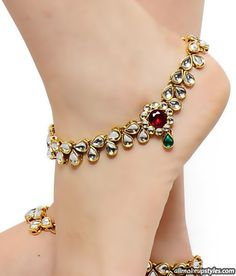 gold traditional anklets