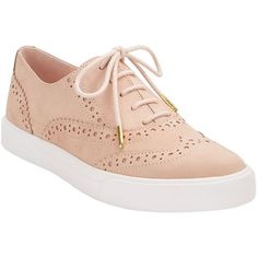 Kate Spade New York Catlyn Leather Sneakers ($114) ❤ liked on Polyvore featuring shoes, sneakers, shell, real leather shoes, genuine leather shoes, leather oxfords, leather trainers and kate spade shoes