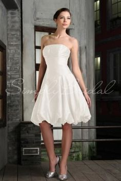 Wedding Dress by SimplyBridal. Channel the modern day princess with this short ball-gown dress. The Erica A-line silhouette and bubble-skirt combine perfect amounts of elegance and playfulness to create a wonder of taffeta. The dropwaist accentuates ladies figures from petite to tall.. USD $99.99