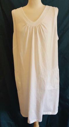 e839b6d130d Lands End Sleep Gown Night Gown 2X Plus Size Sleeveless Pockets White 1257   LandsEnd