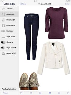 Mi-tu calzado carlota, purple sweater, white jacket