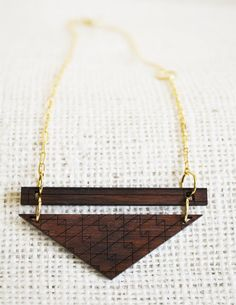 Laser Cut Walnut Wood Pendant on Gold Chain by Poiesis Design, Horseshoe Featured Vendor #luckyfinds