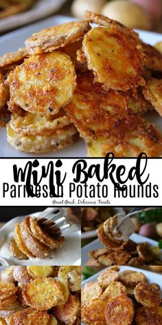 Mini Baked Parmesan Potato Rounds are delicious little potato slices covered in Parmesan cheese, seasoned with garlic salt and pepper and baked until fork tender. Roasted Mini Potatoes, Parmesan Roasted Potatoes, Little Potatoes, Sliced Potatoes, Unique Potato Recipes, Baked Potato Recipes, Sweet Recipes, Baked Potato Slices, Appetizer Recipes