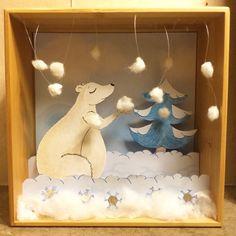 Petit #diorama sur le thème de l'hiver #ours #neige #papiercoupé #papercut…