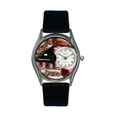Whimsical Watches Music Teacher Black Leather And Silvertone Watch