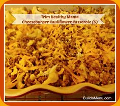 Cheeseburger cauliflower casserole. Looks healthy and delish but might need a little more flavor.