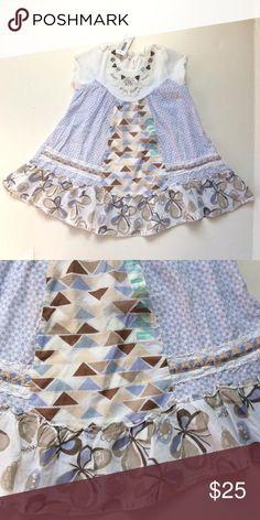 Naartjie butterfly dress Brown, blue and white Naartjie Dresses