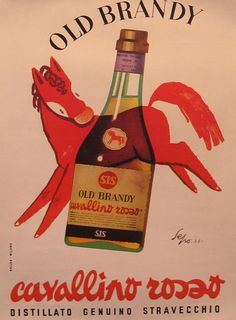 Vintage Italian Posters ~ #Italian #vintage #posters ~ 1953 Original Italian Poster, Old Brandy Advertisement - Sepo