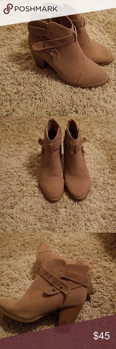 Gorgeous  nude suede  boots Suede boots Color/ nude by Hot kiss Hot Kiss Shoes Heeled Boots