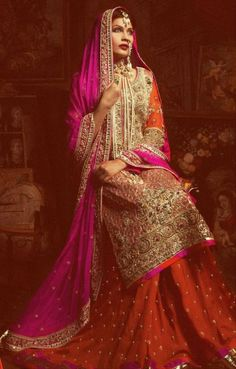 Orange and hot pink bridal Sharara (lehenga skirt with kameez type long skirt)
