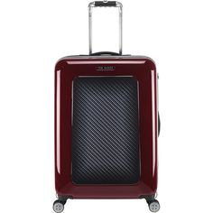 Ted Baker Burgundy Graphite Suitcase - Medium (£360) ❤ liked on Polyvore featuring bags, luggage and brown