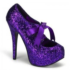 Teeze Purple Glittered Platform Pump - New at GothicPlus.com Price: $75.00  Glitter covered pump has a concealed platform that is about 3/4 inches high and a 5 3/4 inch heel. Satin bow tie front for a touch of whimsey. In so many pretty colors it will be hard to choose just one - here in beautiful purple! The perfect party shoe!  All man made materials with padded insole and non-skid sole.  #gothic #fashion #steampunk