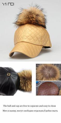 34e1eb98480 YIFEI 2017 NEW AUTUMN Female Warm PU Leather Baseball Cap 15CM Real Raccoon  Fur Pompoms Hats