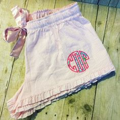 Seersucker Bitty Boxers with Lilly Pulitzer Monogram, Monogram Bitty Boxers, Lilly P Monogram Boxers, Monogram Seersucker Boxers by…