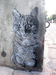Street art: Cat in Paris (Vitry-sur-Seine) by C215