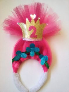 $ 10 Troll Party Hair headband Poppy Second birthday pink sparkly birthday crown