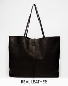 Image 1 ofASOS Unlined Leather Shopper Bag With Tie Detail