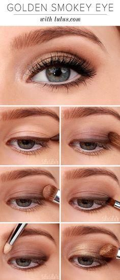 Makeup Tutorials for Blue Eyes -Lulus How-To: Golden Smokey Eyeshadow Tutorial -Easy Step By Step Beginners Guide for Natural Simple Looks, Looks With Blonde Hair Colour and Fair Skin, Smokey Looks and Looks for Prom