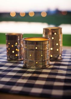cans wedding centerpiece for BBQ weddings