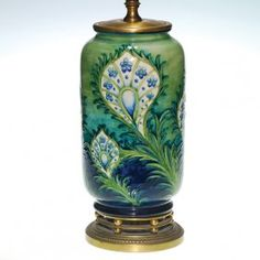 "0336: Moorcroft Peacock Feather lamp vase, 1930,s 11"" : Lot 336"