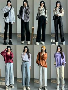 Korean Girl Fashion, Korean Fashion Trends, Korean Street Fashion, Ulzzang Fashion, Korea Fashion, Asian Fashion, Cute Casual Outfits, Retro Outfits, Stylish Outfits
