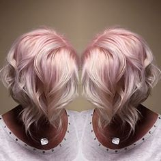 Pink pastel bob with gorgeous beach waves