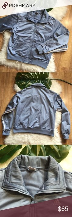 Retro Adidas Blue Jacket sz M Size M. Retro Vintage Adidas Jacket from late 90s early 2000s. Some staining through out, like in bottom hem and sleeve. Can't tell too bad though, can probably be stain treated I just haven't, I washed with tide & that's it! Powder blue gray color and very comfy. Great for back to school or layering for fall and winter adidas Jackets & Coats