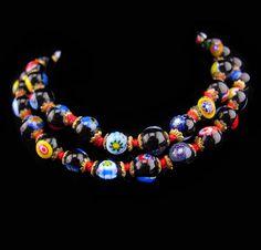 Vintage millefiori necklace / glass choker / vintage Hand