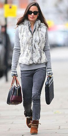 Pippa in London ~ i love the boots and vest
