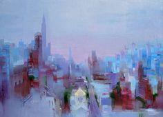 "Saatchi Art Artist Tatiana Bugaenko; Painting, ""Sunset in Manhattan."" #art"