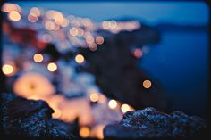 Santorini blurred lights