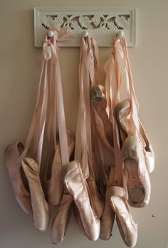 Inspiration ~ Worn, Tattered Ballet Toe Shoes hung from a Shabby set of Hooks! DIY Inspiration .