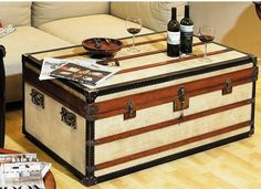 Polo Club Trunk, Small Ideal as coffee tables, combining storage with functionality and design! Every trunk carries two sliding trays painted in signal-red. Roomy and strong, heirlooms for generations to come. Interior Design Inspiration, Decor Interior Design, Trunk Furniture, Painted Furniture, Furniture Ideas, Decorative Trunks, Painted Trunk, Campaign Furniture, Trunks And Chests