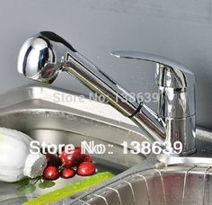 Brush Nickel 350 Mm Pipe Pull Out Kitchen Faucet360 Degree Swivel Glamorous Discount Kitchen Faucets Decorating Inspiration