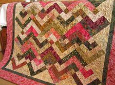 Batik Quilt Pink Lap Quilt Handmade Quilt by PatchworkMountain, $225.00
