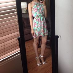 Halter-Top Flower-Patterned Dress Bundle to save!  Worn once for meeting, super cute and nice texture, colors are good for parties, if you have questions, let me know! Dresses Midi