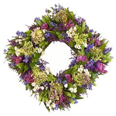 "Showcasing preserved larkspur and hydrangeas paired with natural leaves, this charming wreath is a welcoming accent in the entryway or displayed above your mantel. DETAILS Construction Material:  Natural leaves, sinuata, larkspur, phalaris, German statice, ammobium, hydrangea, and twigs Color:  Pink, lavender, and green Dimensions:  17"" H x 17"" W x 5"" D"