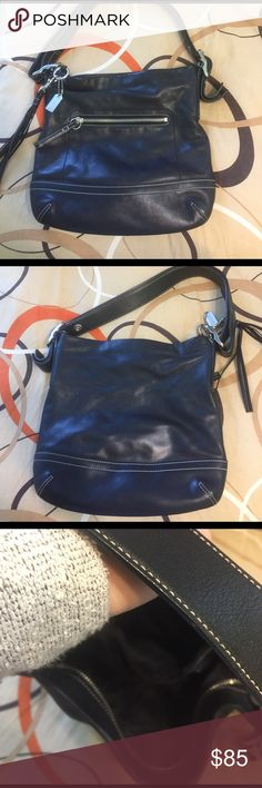 Black leather coach Bag Small black leather coach Bag. Zipper closure great condition. Coach Bags