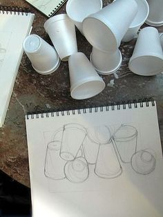 "Sketchbook starter for 8th grade. Preparation for still-life project and ""Junk Drawer"" Drawing. Sketch styrofoam cups."