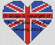 A free cross stitch chart of a Union Jack heart motif for my fans on Facebook and beyond :)
