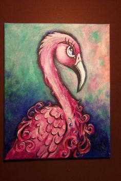 Pink flamingo Original acrylic painting in by artbyvanessa
